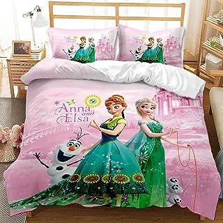 Amacigana Parure de lit 3D Anime Disney La Reine des Neiges et 2 taies d'oreiller en microfibre avec fermeture éclair pour...