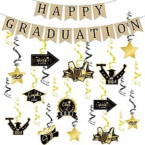 2021 Graduation Decorations - Graduation Hanging Decorations Swirls & Happy Graduation Banner Burlap | Graduation Party Decor for Home,College,Senior,High School Prom Decorations (45)