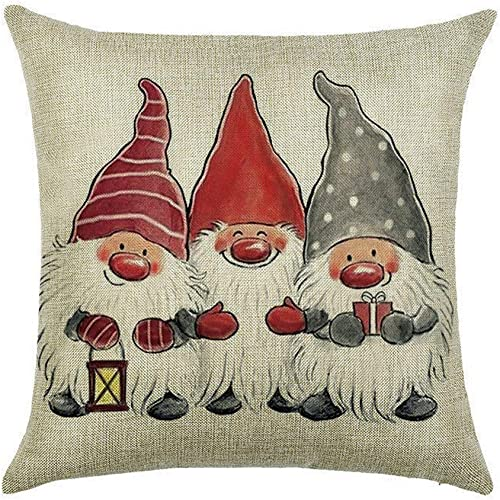 popular OPTIMISTIC Christmas Throw Pillow Cover, 18 x 18 Inch Winter Holiday Rustic Farmhouse Cushion Case for Sofa Couch, Gnome, Santa, Snowman, Elk Printed Home Holiday popular 2021 Decorative Pillow Cover Case outlet sale
