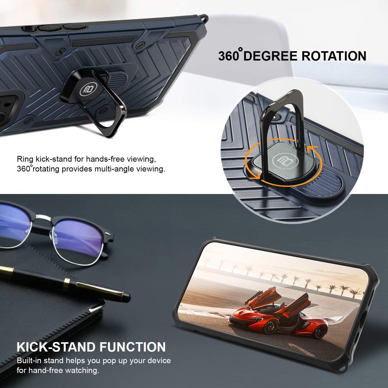 Kickstand de Anillo con rotaci/ón de 360 Grados Carcasa para Xiaomi Redmi Note 9 Pro//Note 9s Azul Marino h/íbrida Anti-rasgu/ños Heavy Duty BEZ Funda Xiaomi Redmi Note 9 Pro