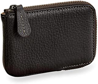 Levenger Bomber Jacket Zip Card Wallet with RFID - Business Card Case, Mocha (AL14495 MO NM)