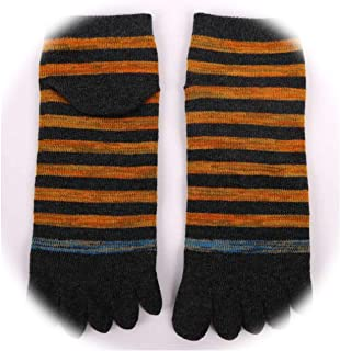 [Fairly]Striped Business Men Casual Cotton Anklet Five Finger Socks Men Fashion Toe Socks Breathable Soft Calcetines Hombre