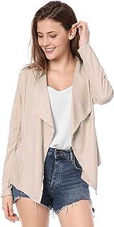 Allegra K Women's Zipper Draped Front Moto Faux Suede Jacket