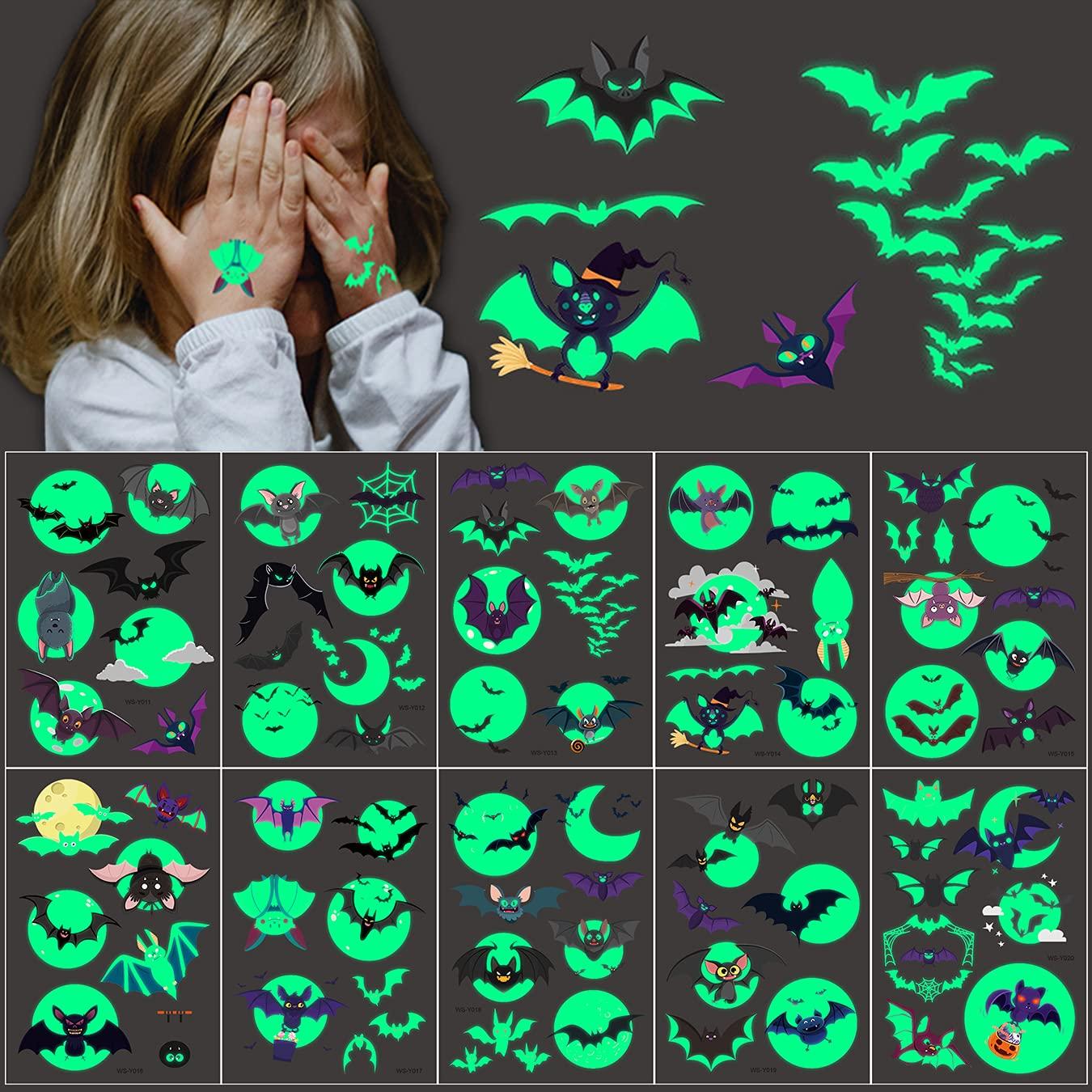 Department store 10 Sheets Halloween Glow in the Dark Tattoos Bat Temporary Kids Long Beach Mall