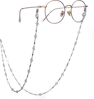 TEAMER Reading Eyeglass Straps Holder Stylish Four-Leaf Clover Eyeglass Chain and Cords Lanyards for Women(Gold/Silver)