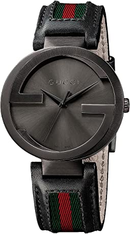 Gucci - Interlocking 42mm Leather and Nylon Strap Watch-YA133206