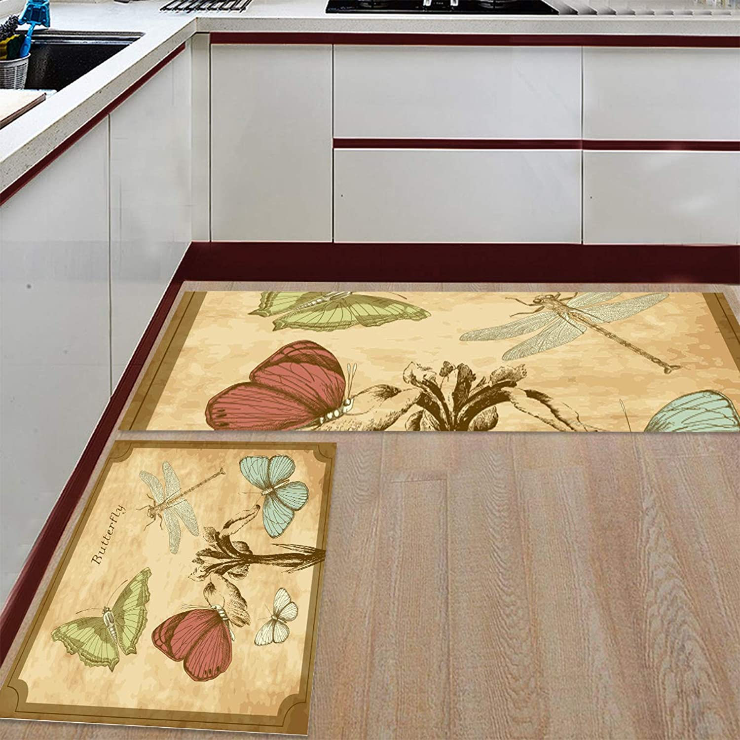 Kitchen Rugs Sets 2 Piece Floor Mats Butterfly Dragonfly Postcard Pamphlet Doormat Non-Slip Rubber Backing Area Rugs Washable Carpet Inside Door Mat Pad Sets (23.6  x 35.4 +23.6  x 70.9 )