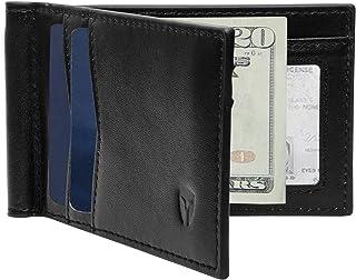 RFID Blocking Slim Minimalist Front Pocket Wallet, Money Clip, 9 Slots, Leather