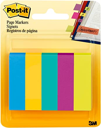 Post-it® Page Markers, 1/2-inch x 1-3/4 Inch, Ideal for Temporary Marking and Noting In Books, Assorted Ultra Colors, 500 per Pack 500 Sheets 670-5AU