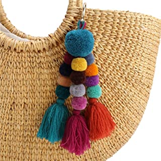 Colorful Pom Pom Tassel Bag Charm Pendant Key Rings Attractive Boho Handmade Personalized Straw Bag Bamboo Bag Key Chain