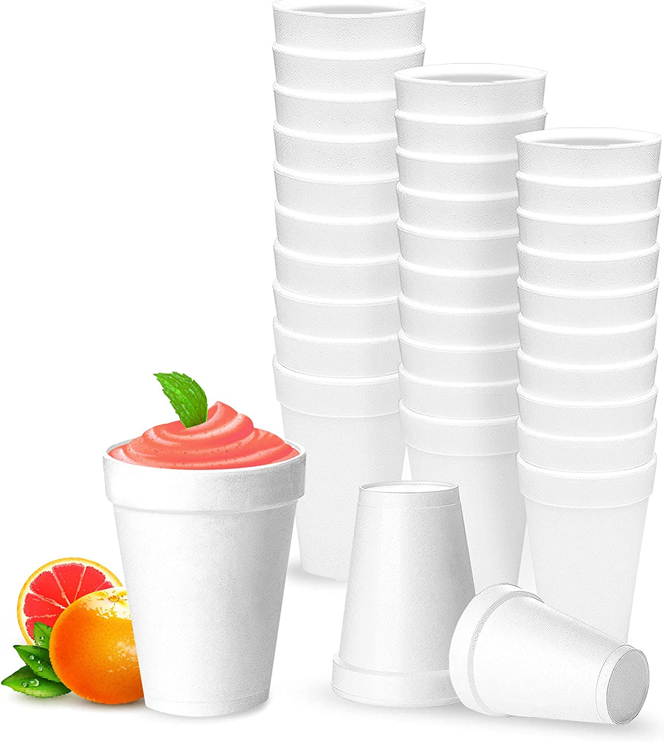 12 Oz Disposable Styrofoam Cups (25 Pack), White Foam Cup Insulates Hot & Cold Beverages, Made in the USA, To-Go Cups - for Coffee, Tea, Hot Cocoa, Soup, Broth, Smoothie, Soda, Juice