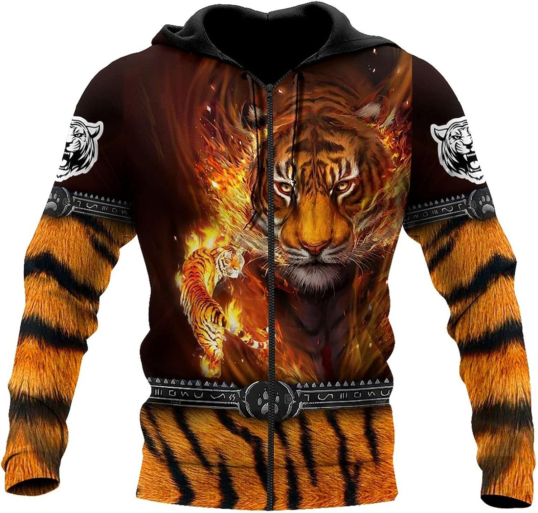 Men's excellence 3D Printed Jacket Fashionable Overseas parallel import regular item Hoodie Animal Zipper Print