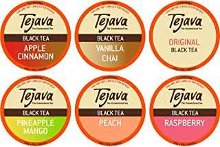 Tejava Tea Variety Pack, 52ct. 6 All Natural Unsweetened Flavored Recyclable Single Serve Assorted Variety Pack Tea Pods I...