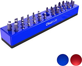 Olsa Tools Hex Bit Organizer with Magnetic Base | Premium Quality Hex Bit Holder for Your Specialty, Drill or Tamper Bits (Blue)