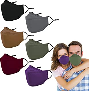 Reusable Cloth Face Masks Washable - 4 Layer 4D Anti Fogging Adult Face Mask with Nose Wire, Breathable Adjustable Face Mask