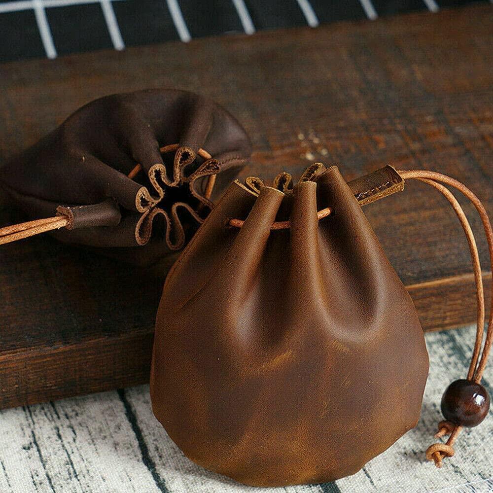 Genuine Leather Wallet Coin Pouch Case Drawstring String Bag Small Purse Storage Brown