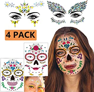 4 Pack Halloween Face Tattoo Sticker, Day of The Dead Sugar Skull Temporary Tattoo for Halloween, Masquerade and More
