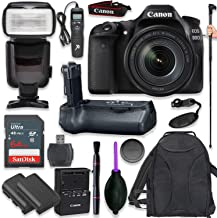 Canon EOS 80D Digital SLR Kit with EF-S 18-135mm f/3.5-5.6 Image Stabilization Nano USM Lens (Black) with Pro Battery Grip, Professional TTL Flash, Backpack, Spare LP-E6 Battery (17 Items)