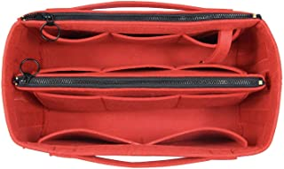 [Fits Neverfull PM/Speedy 25, Red] Felt Organizer (Invisible Handles, Key Chain Hook, Detachable Zip Pocket), Tote Bag Organizer, Purse Insert