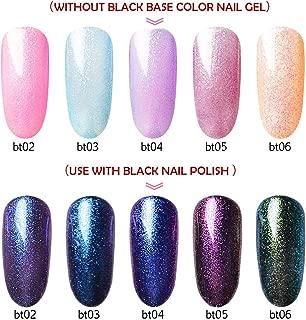 5 Colors Glitter Gel Nail Polish+ 1 Black Gel, Saviland 2 Effects Soak off UV LED Nail Varnish Nail Art Manicure Set(10ml)
