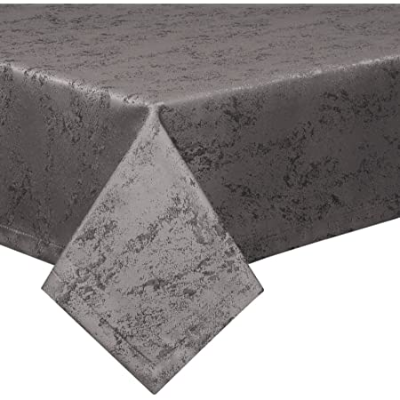 Schwar Textilien Nappe anti-taches - Effet lotus - Lavable - Chiné - 160 x 220 cm - Ovale - Gris