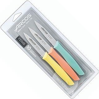 Arcos Nova, Set 3 Cuchillos Mondadores, Acero Inoxidable 85 mm, Mango varios colores