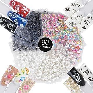 90 Hojas Pegatinas Uñas Decorativas Calcomanías Uñas Flores Nail Stickers para Decoración Arte de Uñas Negro + Blanco + Mu...