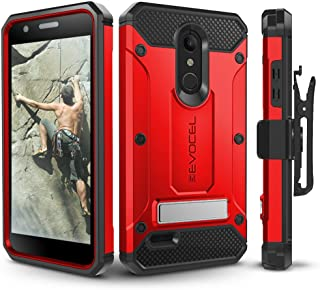 LG K30 / LG Premier Pro/LG Harmony 2 Case, Evocel Heavy Duty Protection with Glass Screen Protector, Rugged Holster, and Kickstand, Explorer Series Pro – Red