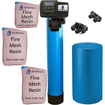 AFWFilters IRONPRO2 Pro 2 Combination Water Softener Iron Filter Fleck 5600SXT Digital metered Valve for Whole House (80,000 Grains, Blue), 80, 000