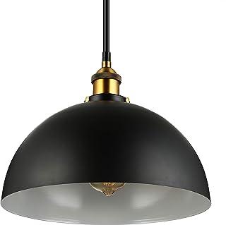 BAYCHEER lámparas de araña lámpara de techo de la pantalla diámetro E27 Vintage altura 30cm industria lámpara ajustable (negro redondo)