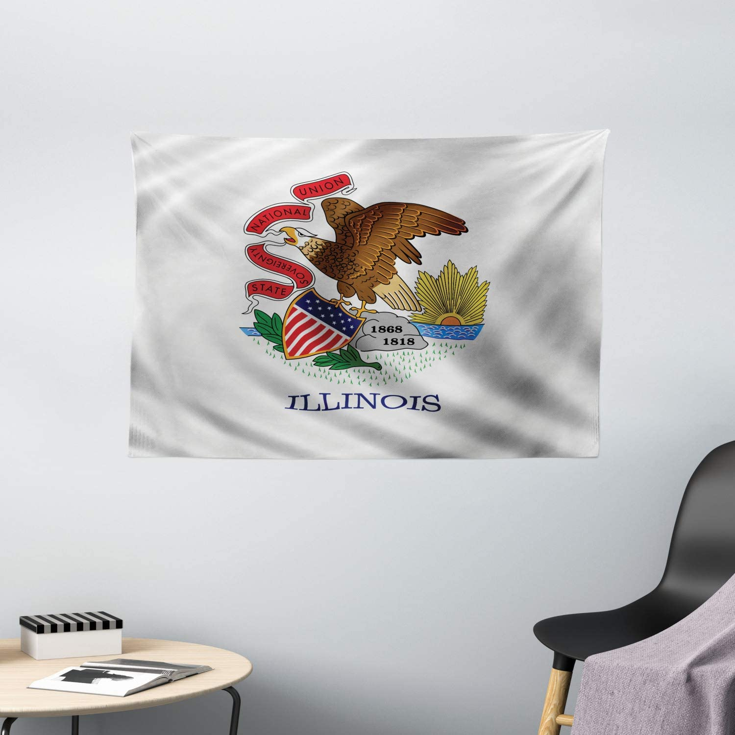Ambesonne American Tapestry Illinois Flag Eagle S Beak Banner State Sovereignty National Union Springfield Wide Wall Hanging For Bedroom Living Room Dorm 80 X 60 Multicolor Home Kitchen
