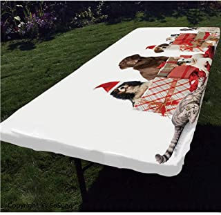 SoSung Christmas Polyester Fitted Tablecloth,Several Pets with Surprise Adorable Dogs Cats and Rabbits Decorative Rectangular Elastic Edge Fitted Table Cover,Fits Rectangular Tables 60x30
