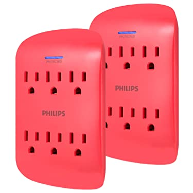 Philips 6-Outlet Surge Protector Tap, 2 Pack, 900 Joules, 3-Prong, Space Saving Design, Protection Indicator LED Light, Coral, SPP3462CR/37