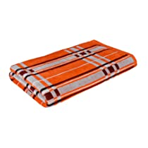 Liklee Unisex Solid Checkered Velvet Cotton Orange Bath Towel
