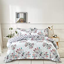 Uozzi Bedding Comforter Set Twin Size Plaid with Colorful Feather Dragonfly Reversible Down Alternative 800 TC Kids Duvet Sets 1 Microfiber Comforter with 2 Pillow Shams