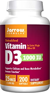 Jarrow Formulas Vitamin D3 Calcium and Bone Metabolism, 25 Mcg (1000IU) Softgels, 200 Count