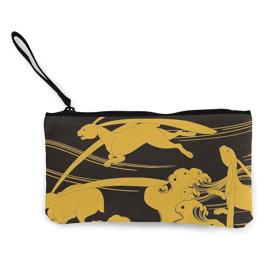 タイヤ地殻義務づけるErmiCo レディース 小銭入れ キャンバス財布 蒔絵の波頭 小遣い財布 財布 鍵 小物 充電器 収納 長財布 ファスナー付き 22×12cm