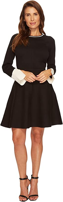 Vince Camuto - Long Sleeve Split Cuff Flared Sweater Dress