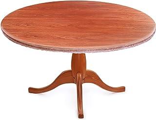 WINOMO Nappe ronde transparente en film PVC avec bords élastiques, imperméable, résistante à l'huile, convient pour tables...
