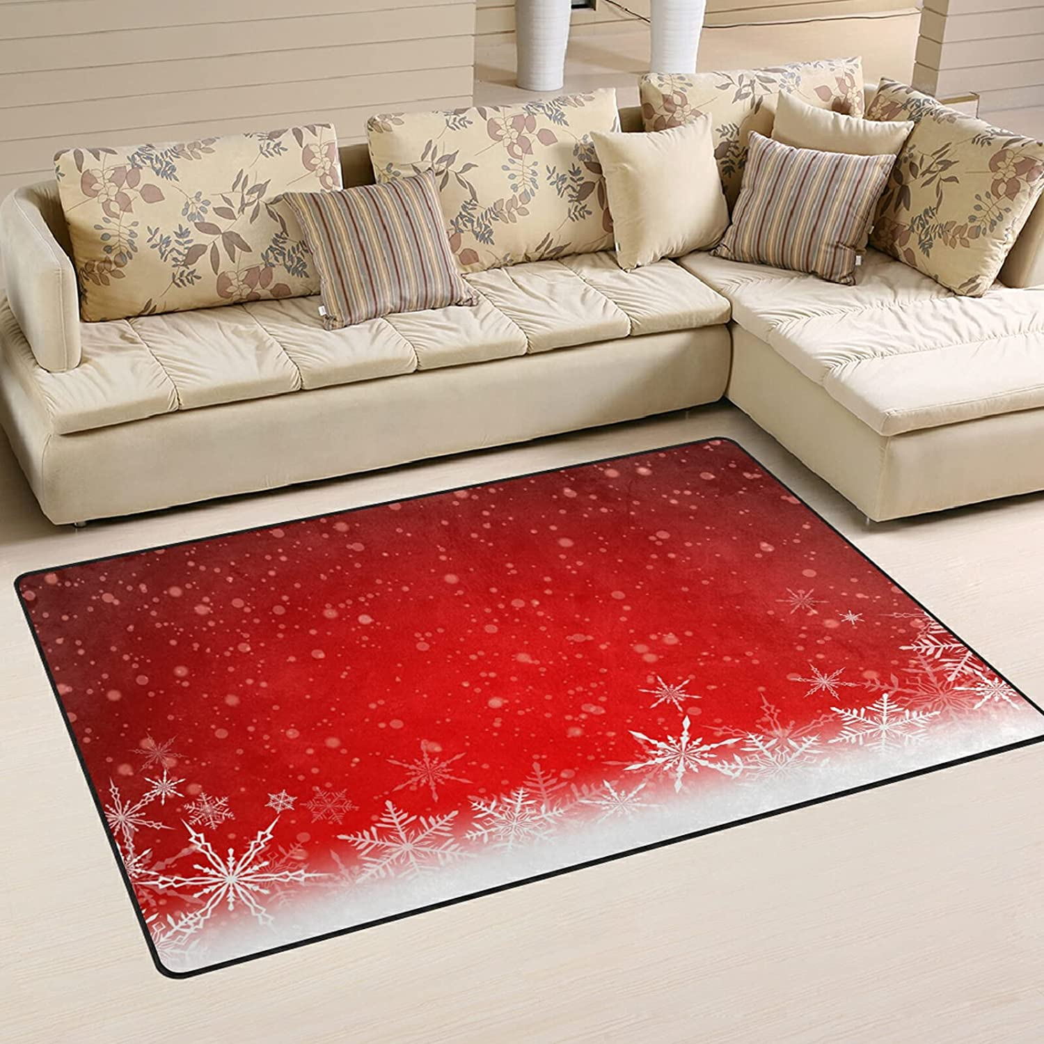 Red Louisville-Jefferson County Mall Winter Snowflakes Large Soft 40% OFF Cheap Sale Area Nursery Playmat M Rugs Rug