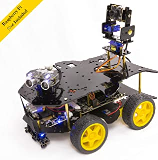 Yahboom Robot Kit for Raspberry Pi 4 Model B 3B+ Project with HD Camera, Programmable Robotice Truck with 4WD, Electronics Education DIY Car Set for Adult with Initial Video (RPI Not Included)