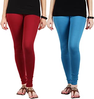 FabLab Cotton Lycra Churidar Leggings(FLCLCOMBO2MSBL,Maroon, Sky Blue,Free Size) Combo Pack of 2
