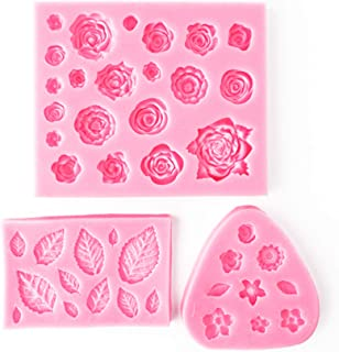 Rose Flowers and Leaves Fondant Candy Molds Cake Decorating Moulds Modeling Tools,Gummy Sugar Chocolate Candy Cupcake Mold