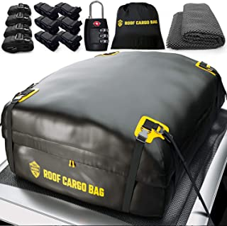 Car Top Carrier Roof Bag | 15 or 20 Cubic ft + Protective Mat – for Cars with or Without Racks