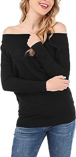 dfab68ad49b1 FISOUL Mujer Suéter Moda sin Hombro Jersey Casual Prendas de Punto Cuello  Barco Manga Batwing Mangas