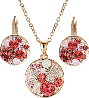 Mouse Head Jewelry Set for Women Platinum Plated Multi Crystal Necklace Earrings Set for Women