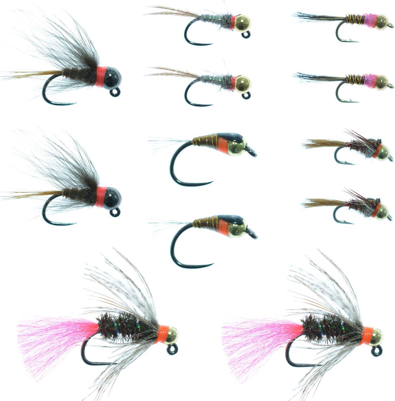 6Pcs//Lot #12 Orange/&Yellow Buzzer Fly Nymph Whitefish Trout Fishing Flies