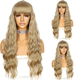 Sapphirewigs Light Brown Color Long Wavy Wig With Bangs Silky Full Heat Resistant Synthetic Wig Natural Looking Machine Ma...