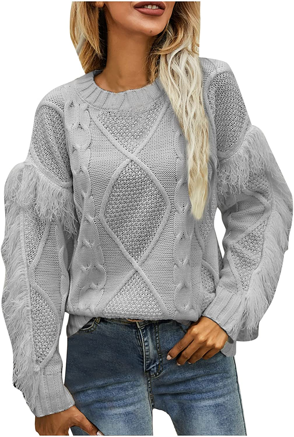 Women's Plush Tassel Sweater Cable Knit Crew Neck Jumper Long Sleeve Solid Color Sweater Casual Pullover Blouses Tops
