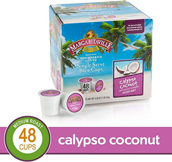 Calyspo Coconut For K Cup Keurig 2 0 Brewers Margaritaville Coffee Medium Roast Single Serve Coffee Pods0 33 Fl Oz Pack Of 48